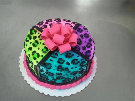 8 Double Layer Cake With Buttercreme Icing In A Neon