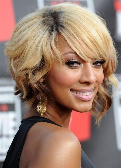 african american short blonde wavy bob hairstyle  bangs hairstyles weekly