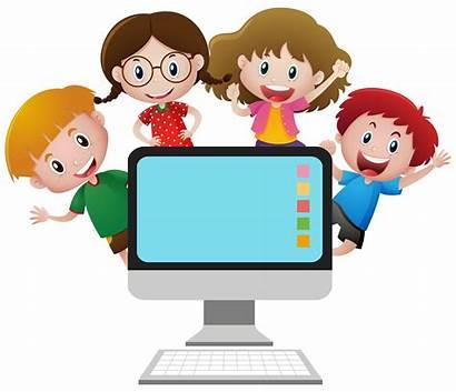 Computer Children Screen Vector Behind Clipart Four