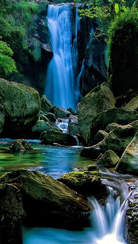 Wallpaper Iphone 7 Water Fall by Waterfall In Forest Landscape Iphone 5s