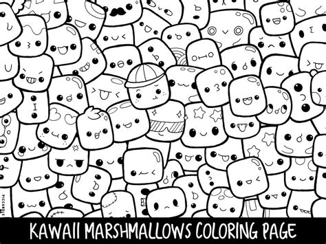 marshmallows doodle coloring page printable cutekawaii etsy