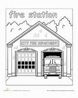 Station Fire Town Places Paint Coloring Worksheet Education Preschool Map Own Neighborhood Colouring Worksheets Safety Truck Child Stroll Everyday Take sketch template