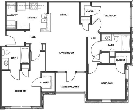3 Bedroom Apartment Floor Plans by 3 Bedroom Apartment Floor Plan With Dimensions
