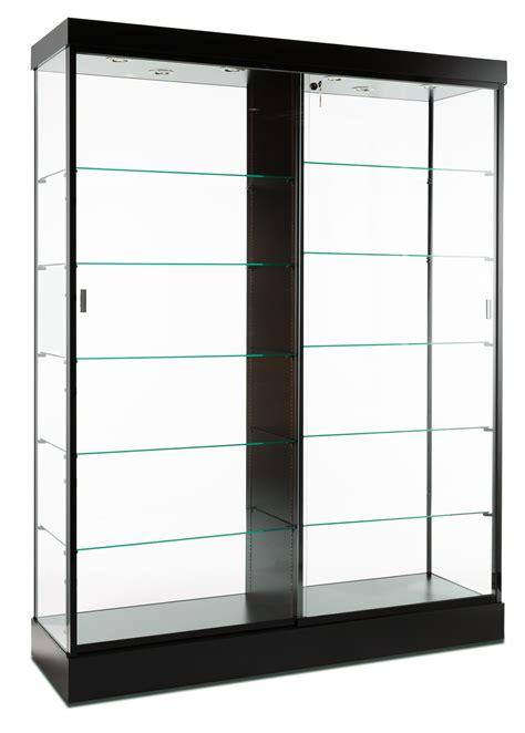 glass display cabinet display cabinets black finish top lighting glass doors