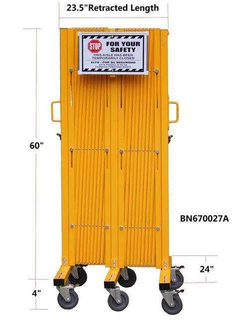 warehouse heavy duty steel portable folding security gates  warning label