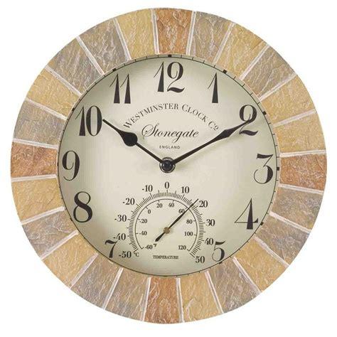outdoor wall clock and thermometer clocks themometers sandstone the garden factory 7248