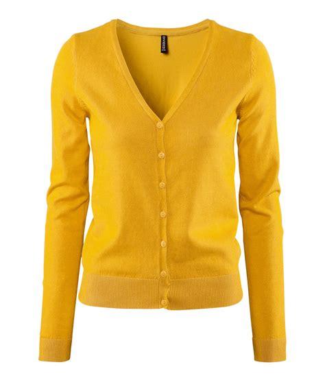 yellow cardigan sweater lyst h m cardigan in yellow