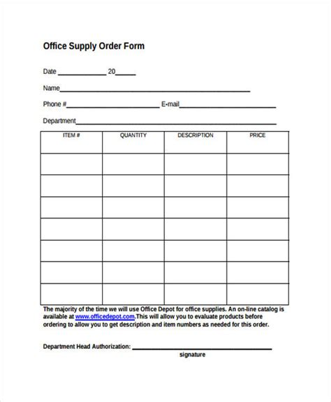 Office Supplies Order Form office supply order form template clergy coalition
