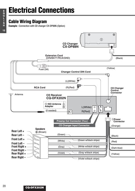 electrical connections cable wiring diagram cq dfx202n panasonic cq dfx202n user manual