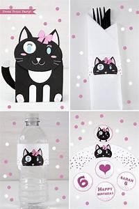 Under The Sea Birthday Party Invitations Free Printable Cat Themed Birthday Party Printable Set Girl Black