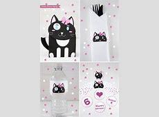 Cat Party Birthday Printable Set, Girl Black & White