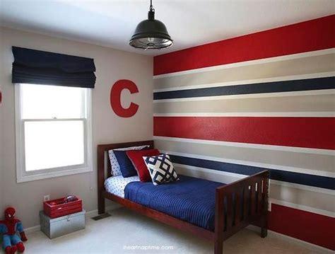 red blue  grey horizontal stripes wall paint  boys