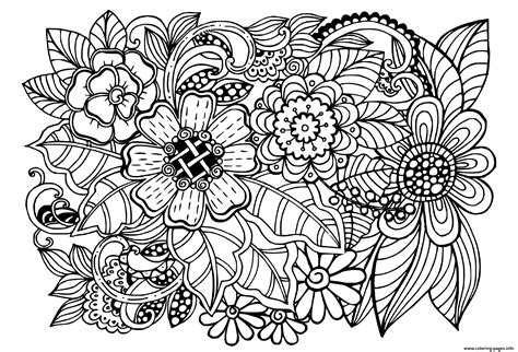 beautiful doodle floral pattern adult coloring pages printable