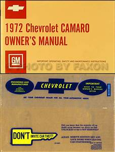 1972 Camaro Owner U0026 39 S Manual Reprint Rs  Ss  Z28 Z