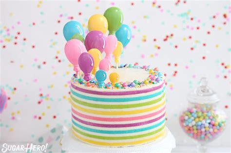 striped buttercream balloon cake sugarhero