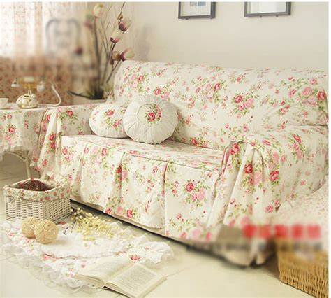 Floral Settee by Shabby Chic Cottage Floral Sofa Cover Pleats 2