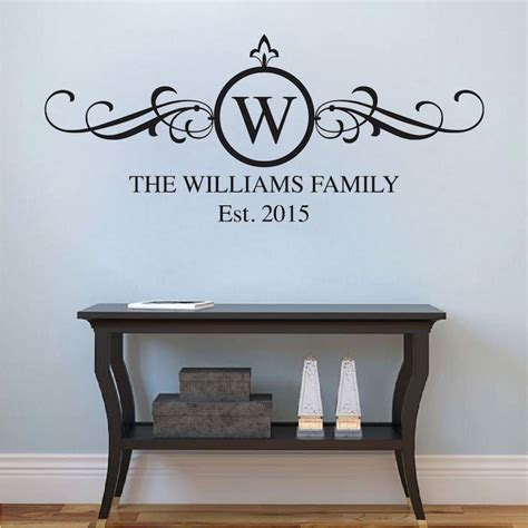 wall color for kitchen with grey family surname wall decal applique trendy wall designs