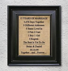 burlap art print 15th anniversary gift 15 year anniversary With 15 year wedding anniversary gift