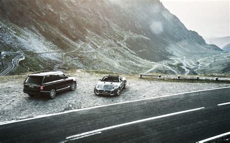 jaguar  type range rover mountain car hd wallpaper