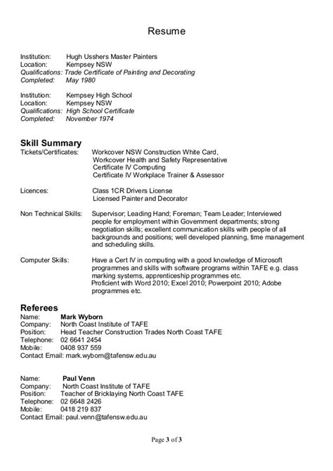 Sle Resume For Painter And Decorator by Resume