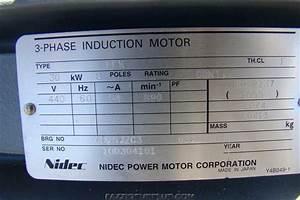 Nidec Electric Motor 30kw  40 Hp  440v 3 Phase 6315zzc3