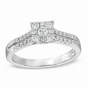 1 2 ct tw diamond square cluster engagement ring in 14k With zales wedding ring upgrade