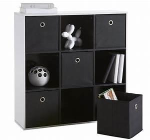 Meuble Rangement Case : rangement 9 cases 5 tiroirs tissus noir ~ Teatrodelosmanantiales.com Idées de Décoration