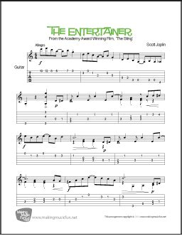 The first recording was by blues and ragtime musicians the blue boys in 1928, played on mandolin and guitar. The Entertainer from 'The Sting' | Easy/Intermediate Guitar Sheet Music
