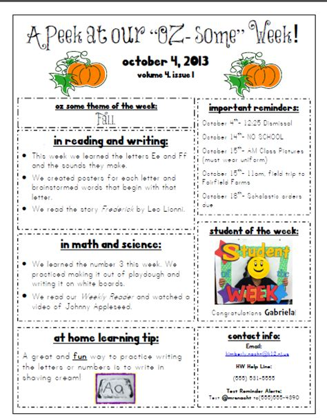 october newsletter ideas mrs nacht 39 s kindergarten korner