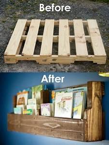 DIY Pallet Idea – Pallet Bookshelves DIY Pallet Ideas