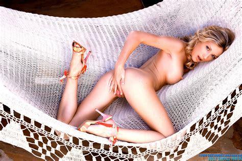 Porn Star Julia Crown Fondling Her Pussy In The Hammock