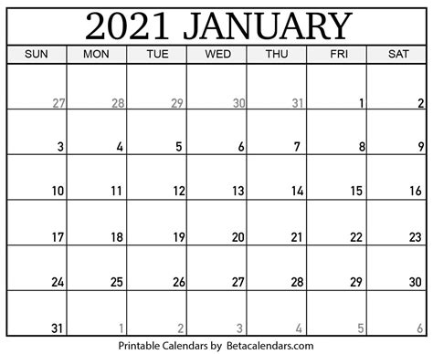 Download Calendar January 2021 Printable  Pictures