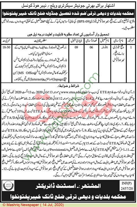 Village Secretary jobs in Peshawar at Local Government ...
