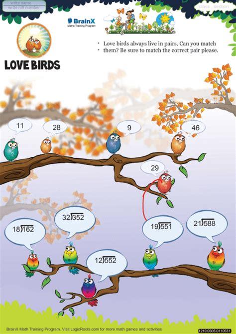 love birds math worksheet  grade   printable