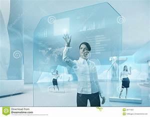 Future Teamwork Concept. Future Technology Touchscreen ...