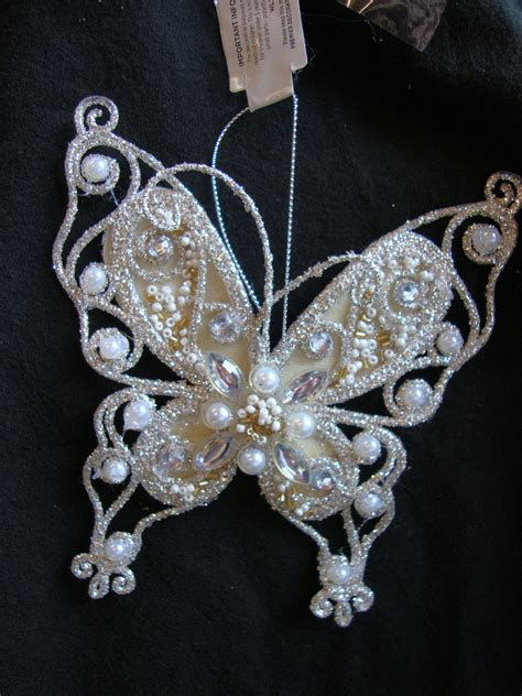 2 x vintage style christmas gold butterfly hanging
