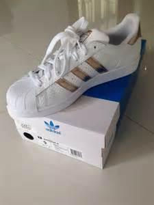 Rose Gold White Adidas Superstar