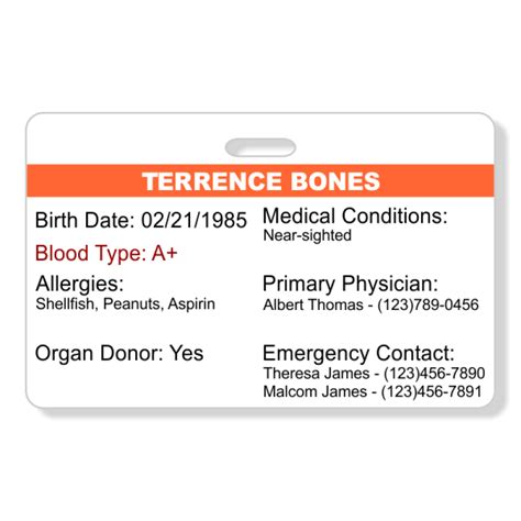 emergency health information horizontal wallet reference card  tag wizard