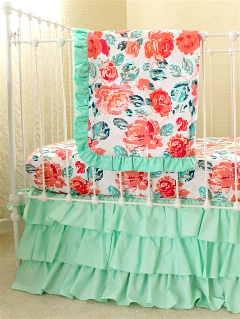Mint And Coral Baby Bedding by Pixie Park Coral Mint And Navy Baby Bedding Custom Baby