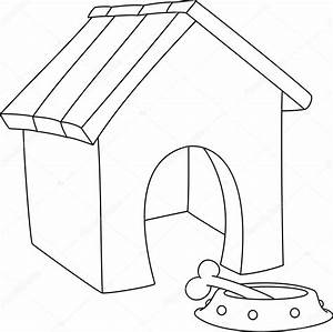 illustration of a dog house outlined — Stock Vector ...