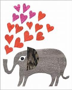 heart elephant paste greeting card