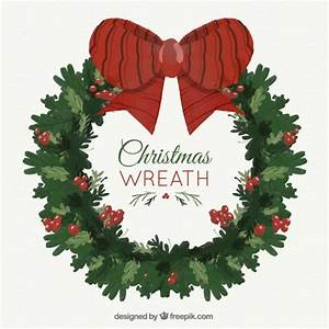 Christmas wreath with a big red bow Vector | Free Download