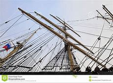 Masts And Rigging Of The Russian Sailing Ship Stock Photo
