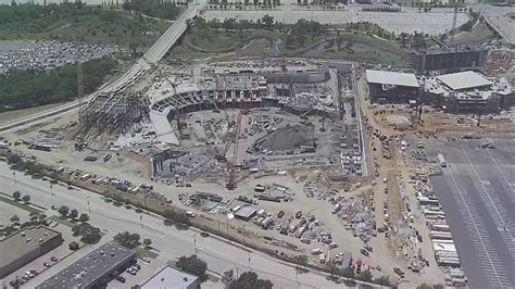 Aerial view: Construction of Globe Life Field, Texas Live ...
