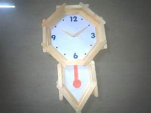 How to make pendulum wall clock with ice cream sticks for How to make a clock for school project
