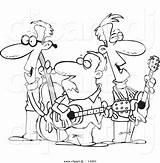 Coloring Band Cartoon Folk Outline Clipart Dj Leishman Ron sketch template