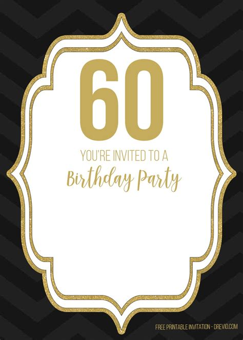 FREE Printable Black and Gold 60th Birthday Invitation
