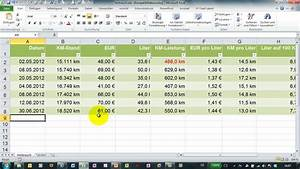 Karma Berechnen Kostenlos : benzinverbrauch mit excel berechnen kosten auf 100 km etc youtube ~ Themetempest.com Abrechnung