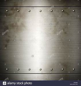 Old steel riveted brushed plate background texture. Metal ...