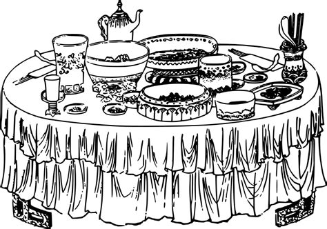 dining table with food clipart black and white clipart table spread